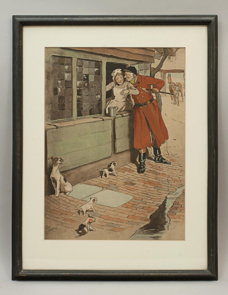 Sporting Art Vintage Fox Hunting Print, Amorous Huntsman by Cecil Aldin For Sale