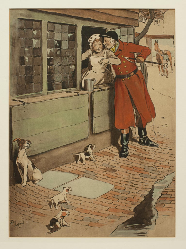 British Vintage Fox Hunting Print, Amorous Huntsman by Cecil Aldin For Sale