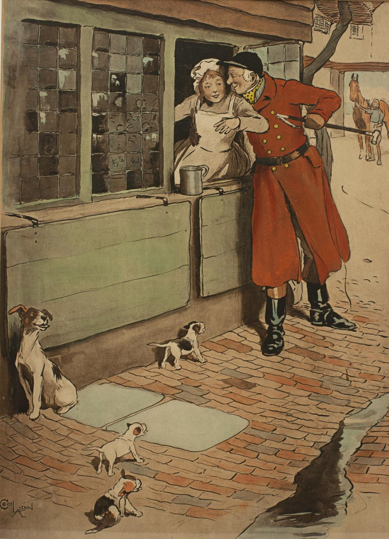 Vintage Fox Hunting Print, Amorous Huntsman by Cecil Aldin In Good Condition For Sale In Oxfordshire, GB