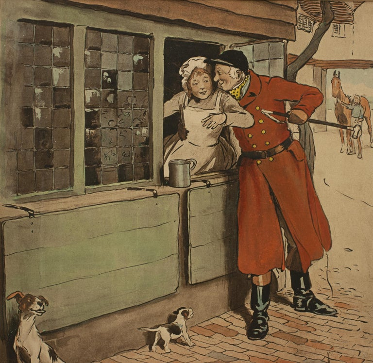 Early 20th Century Vintage Fox Hunting Print, Amorous Huntsman by Cecil Aldin For Sale