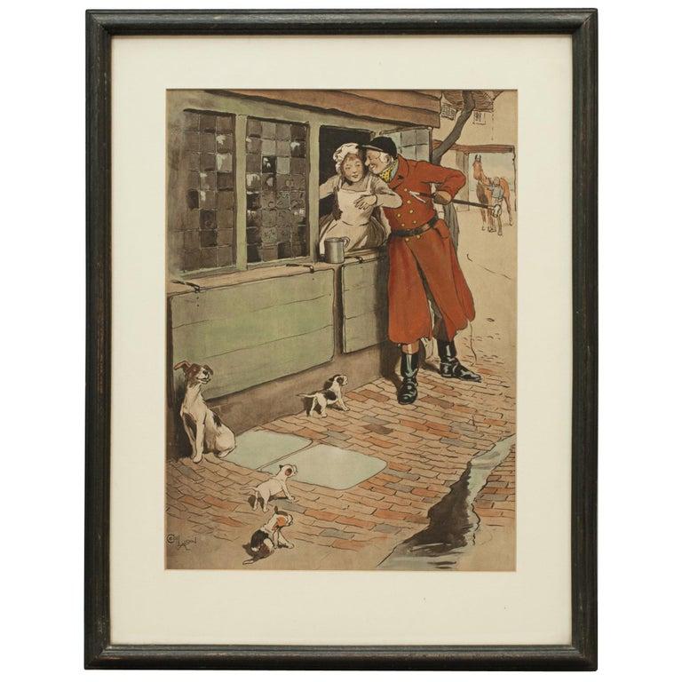 Vintage Fox Hunting Print, Amorous Huntsman by Cecil Aldin For Sale