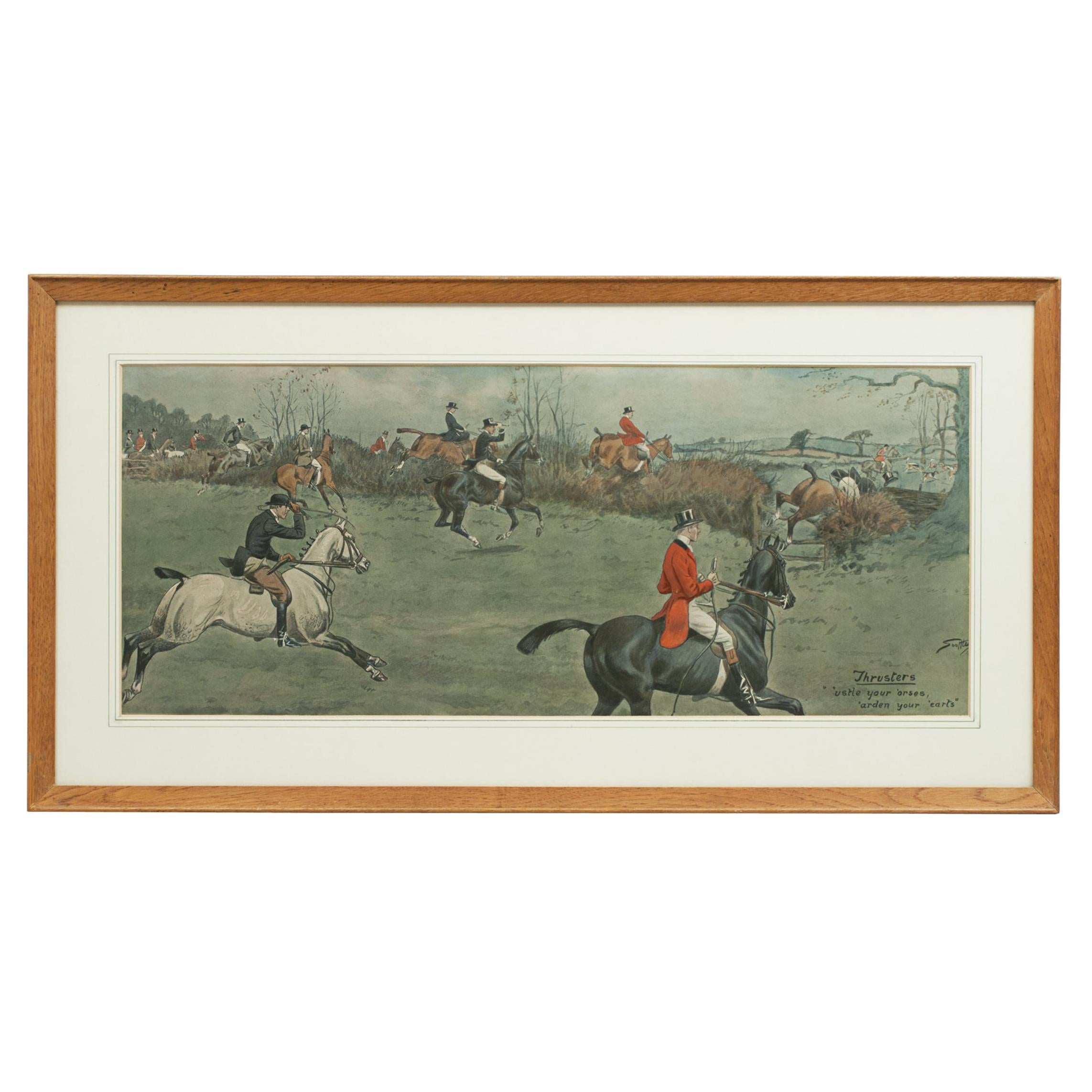 Vintage Fox Hunting Print, Thrusters, After Snaffles