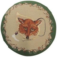 Vintage Fox Hunting Scene Tapestry Footstool