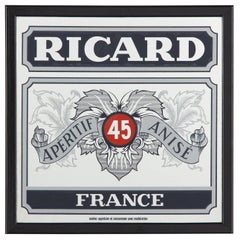 Vintage Frame with Mirrored Advertising Sign for Pastis Ricard, 1980s
