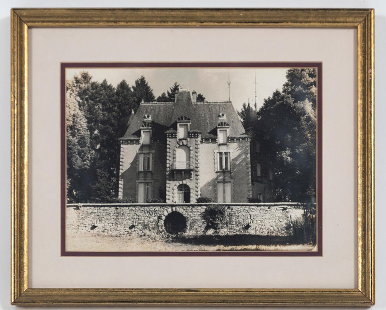 Vintage framed black and white photograph, Le Chateau, France, circa 1950's. A charming image of a chateau in the French countryside. Professionally framed and matted. Provenance: Estate of Janine Metz, social secretary to the Duchess of Windsor in