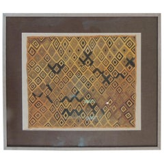 Framed Hand-Painted African Kuba Velvet Textile Framed Art