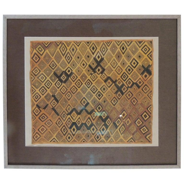 Framed Hand-Painted African Kuba Velvet Textile Framed Art For Sale