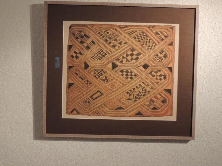 Paper Vintage Framed Hand-Painted African Kuba Velvet Textile Motif Gouache 2 For Sale