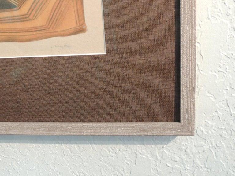 Vintage Framed Hand-Painted African Kuba Velvet Textile Motif Gouache 2 For Sale 1
