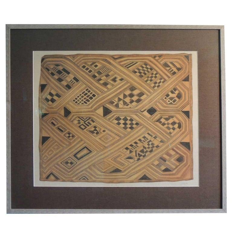 Vintage Framed Hand-Painted African Kuba Velvet Textile Motif Gouache 2 For Sale