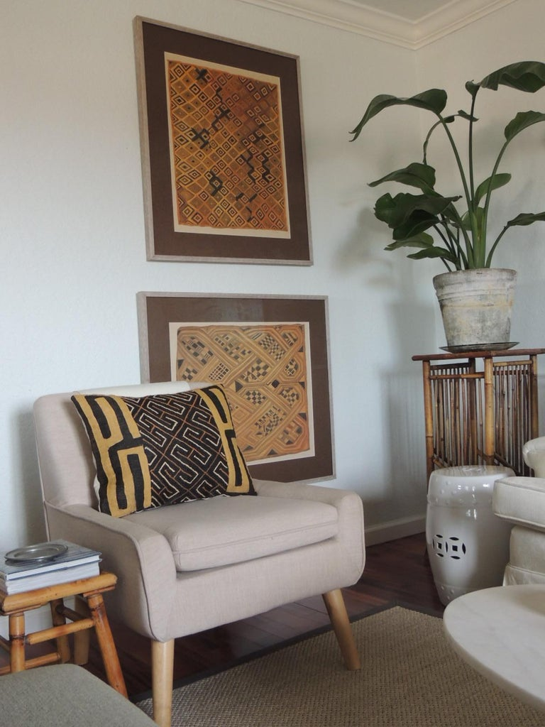 Vintage hand-painted African kesa velvet textile motif gouache Signed by L. R. Laglitti #8 offered framed: UV plexi, wood frame and brown linen museum mat. Newly Framed. Gouache or opaque watercolor, is one type of water media, paint consisting of