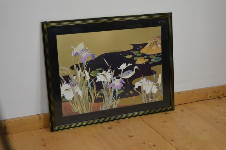 Vintage Framed Japanese Style Fine Art Print with Bird, Cane and Flowers For Sale 4