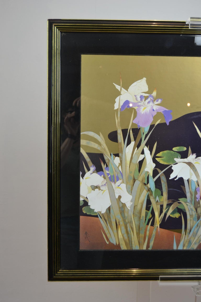 Mid-Century Modern Vintage Framed Japanese Style Fine Art Print with Bird, Cane and Flowers For Sale