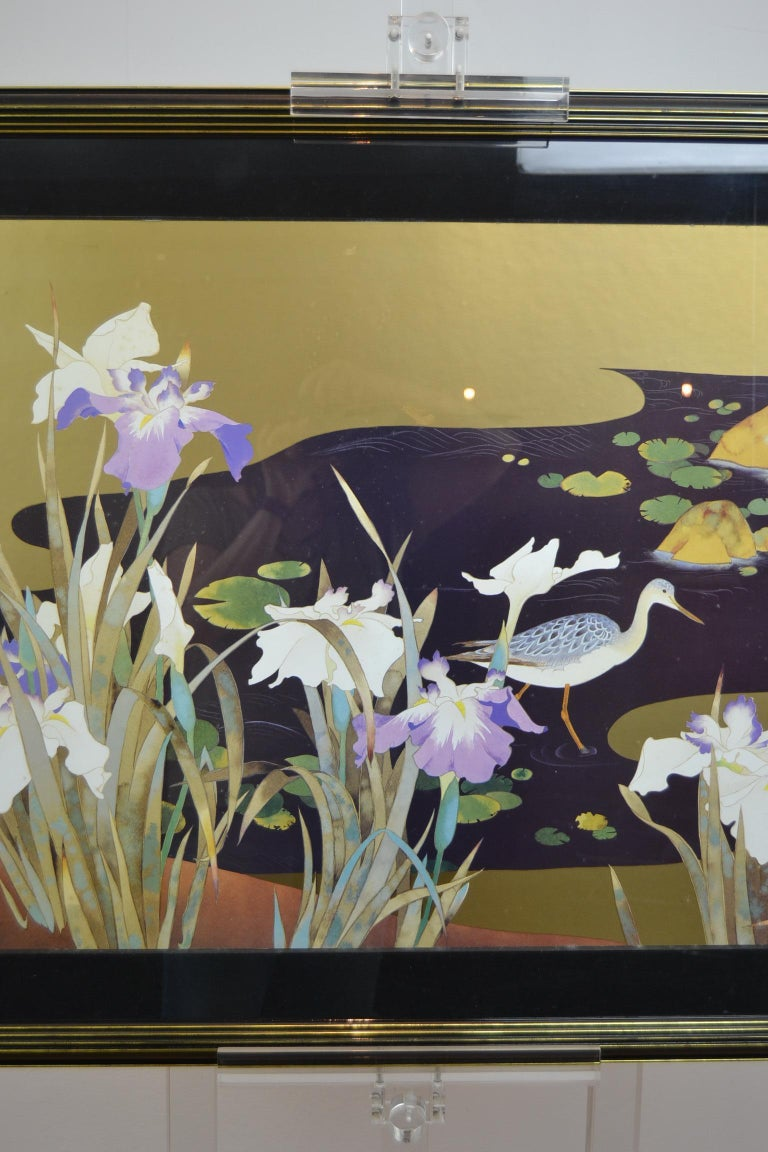 European Vintage Framed Japanese Style Fine Art Print with Bird, Cane and Flowers For Sale