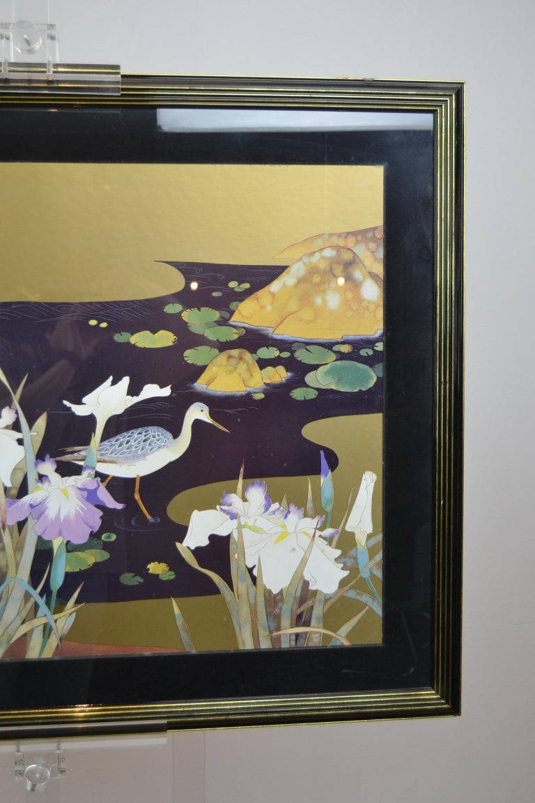 Vintage Framed Japanese Style Fine Art Print with Bird, Cane and Flowers In Good Condition For Sale In Antwerp, BE