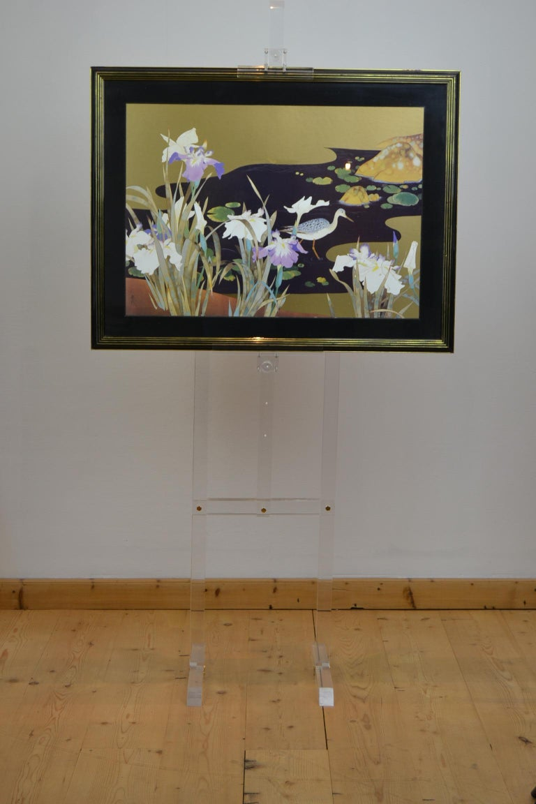 20th Century Vintage Framed Japanese Style Fine Art Print with Bird, Cane and Flowers For Sale