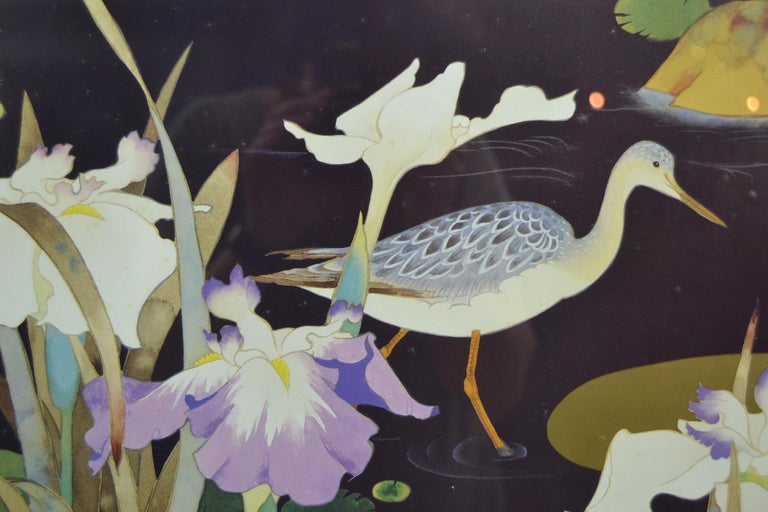 Vintage Framed Japanese Style Fine Art Print with Bird, Cane and Flowers For Sale 2