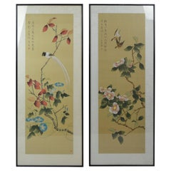 Vintage Framed Japanese Handmade Paintings on Silk with Birds and Flowers
