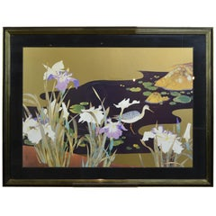 Vintage Framed Japanese Style Fine Art Print with Bird, Cane and Flowers