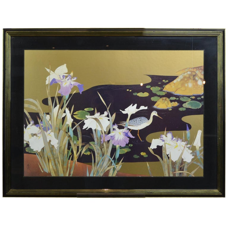 Vintage Framed Japanese Style Fine Art Print with Bird, Cane and Flowers For Sale