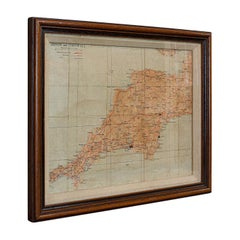 Vintage Framed Map, English, Mahogany, Illustrated, Devon, Cornwall