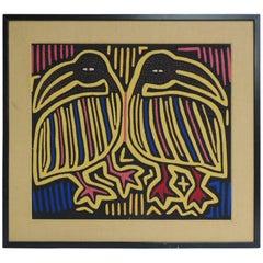 """Vintage Framed """"Mola"""" Tapestry Depicting Birds"""
