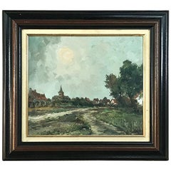 Vintage Framed Oil Painting on Board by A. Sergier