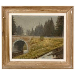 Vintage Framed Oil Painting on Canvas by W. Libert