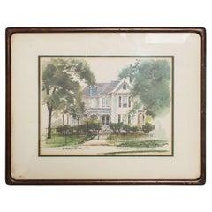 Vintage Framed Print Landscape Gated White House