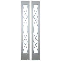 Vintage Framed Sidelight Transom Leaded Glass Window Panels Reclaimed