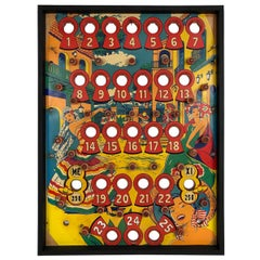 Vintage Framed Wooden Pinball Game Playing Field from the 1960s