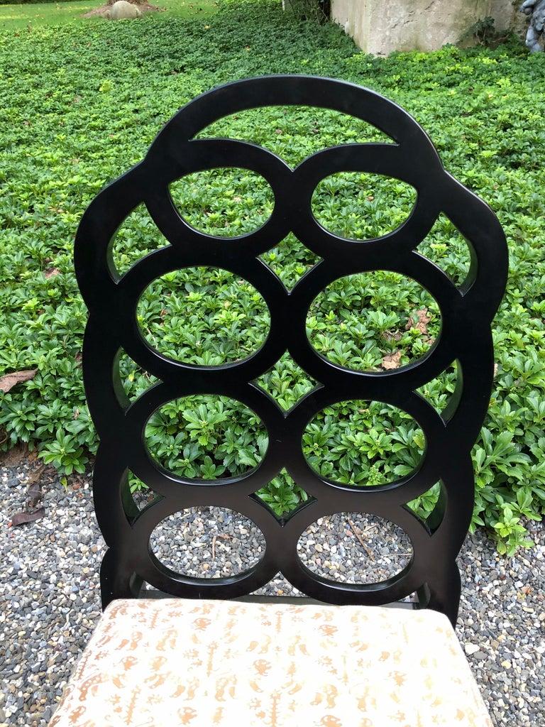 Vintage Frances Elkins Loop Black Dining Chairs, Set of 12 For Sale 2