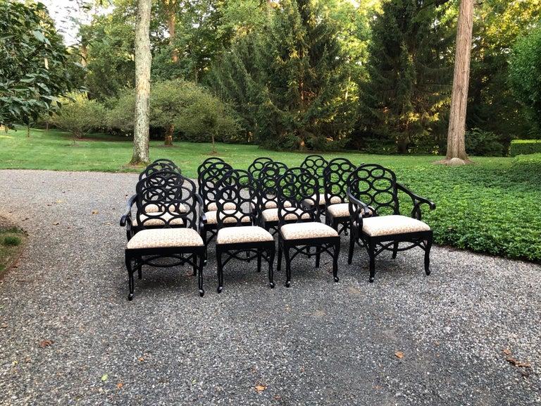Vintage Frances Elkins Loop Black Dining Chairs, Set of 12 For Sale 6