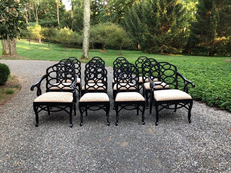 Vintage Frances Elkins Loop Black Dining Chairs, Set of 12 For Sale 8