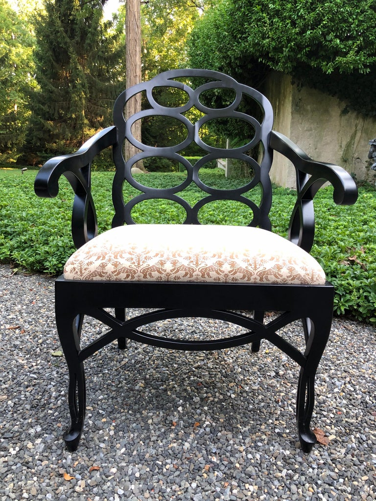 Hollywood Regency Vintage Frances Elkins Loop Black Dining Chairs, Set of 12 For Sale