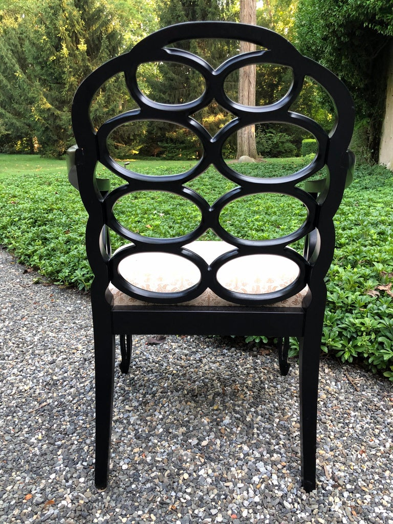American Vintage Frances Elkins Loop Black Dining Chairs, Set of 12 For Sale
