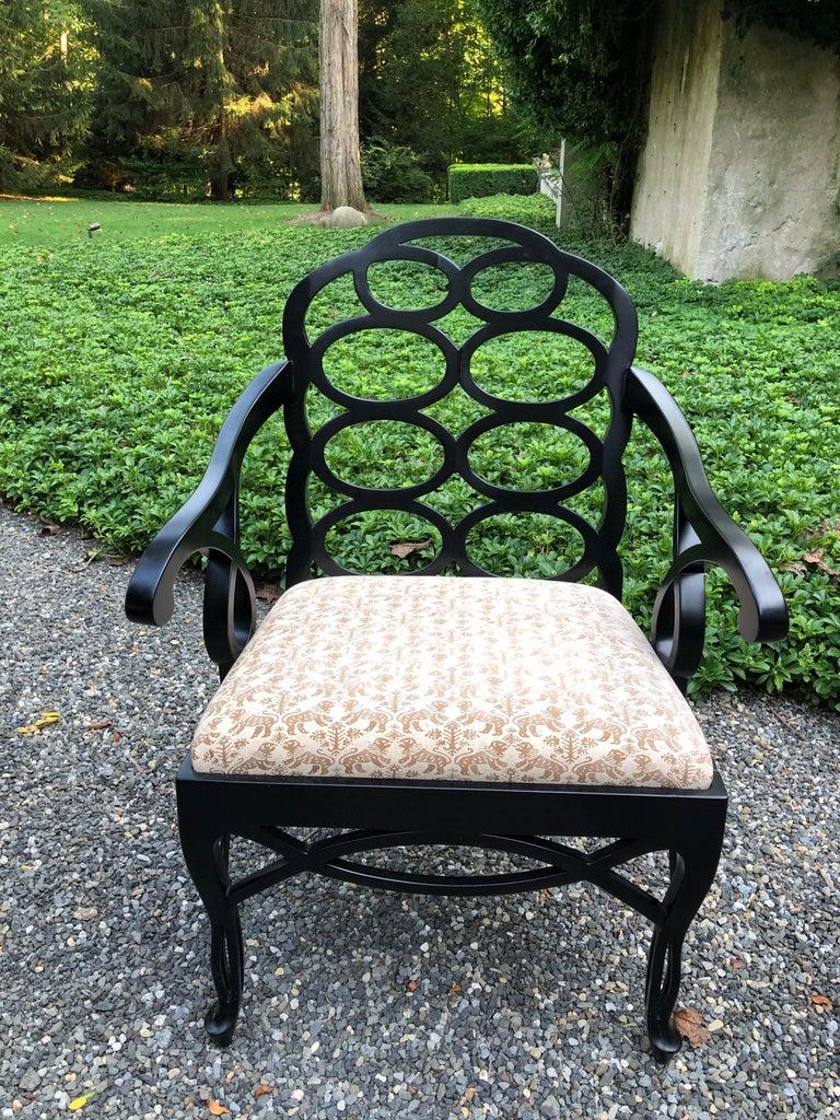 Lacquered Vintage Frances Elkins Loop Black Dining Chairs, Set of 12 For Sale