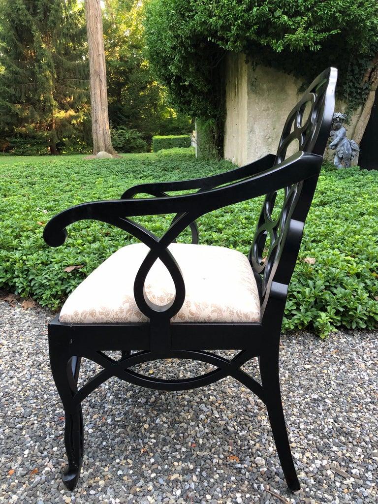 Vintage Frances Elkins Loop Black Dining Chairs, Set of 12 In Good Condition For Sale In Lambertville, NJ