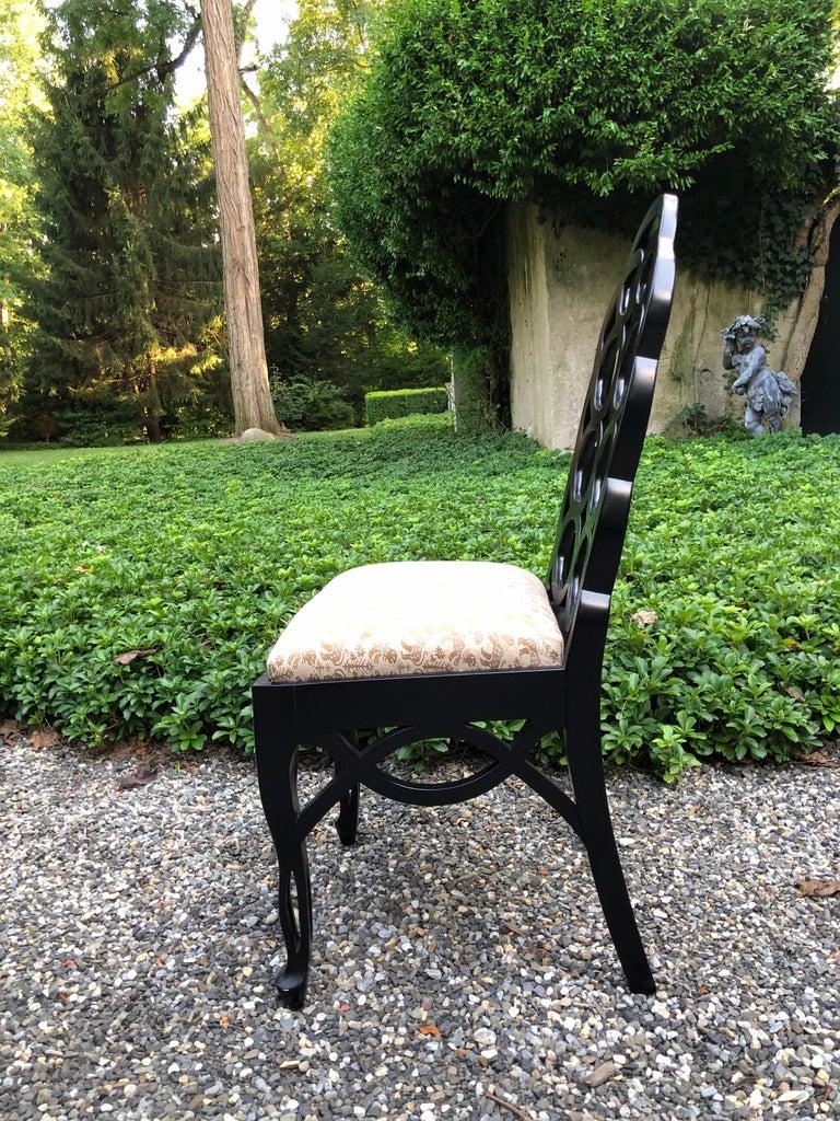 Fabric Vintage Frances Elkins Loop Black Dining Chairs, Set of 12 For Sale