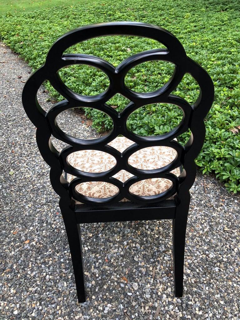 Vintage Frances Elkins Loop Black Dining Chairs, Set of 12 For Sale 1