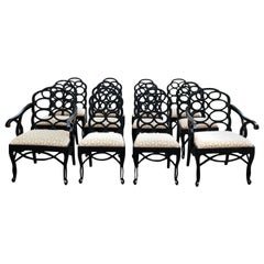 Vintage Frances Elkins Loop Black Dining Chairs, Set of 12