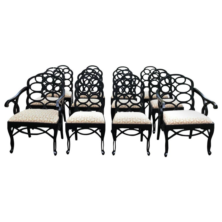 Vintage Frances Elkins Loop Black Dining Chairs, Set of 12 For Sale