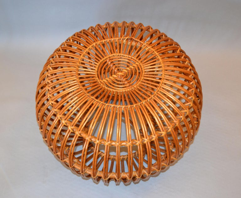 Franco Albini Style Handwoven Rattan / Wicker Ottoman, Pouf, Footstool, Italy For Sale 4