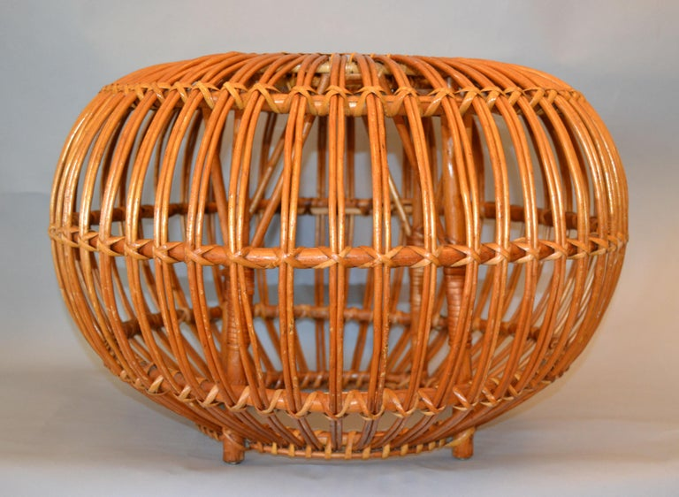 Vintage Franco Albini & Franca Helg round hand-woven Rattan, Wicker ottoman, pouf, footstool or side table. 
