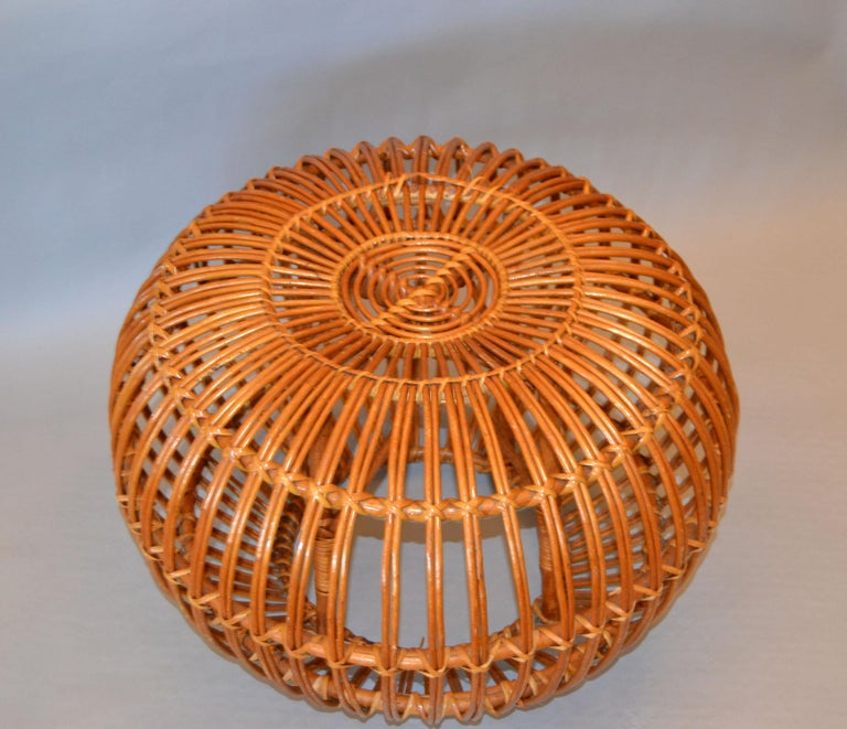 Hand-Woven Franco Albini Style Handwoven Rattan / Wicker Ottoman, Pouf, Footstool, Italy For Sale