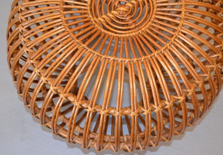Franco Albini Style Handwoven Rattan / Wicker Ottoman, Pouf, Footstool, Italy In Good Condition For Sale In Miami, FL