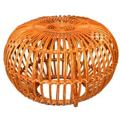 Vintage Franco Albini Hand-Woven Rattan / Wicker Ottoman, Pouf, Footstool, Italy