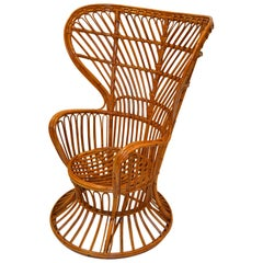 Vintage Franco Albini Handwoven Rattan / Wicker High Back Chair, Italy