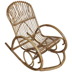 Superb Vintage Franco Albini Style Bentwood Bamboo Rocking Chair