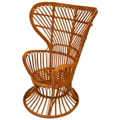 Vintage Franco Albini Style Handwoven Rattan / Wicker High Back Chair, Italy
